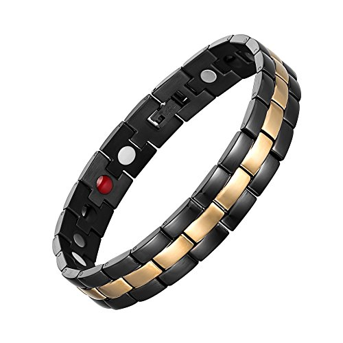 chaninely Titanium Magnetic Therapy Bracelet for Men Arthritis and Carpal Tunnel Pain Relief Black Gold Adjustable 8.5 Inches