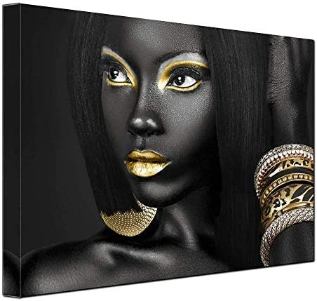 S-ANT Egyptian Decor Queen Woman Portrait Artwork Gallery Canvas Prints Living Room Wall Decor Black Art Paintings for Wall Art Frame Easy to Hang