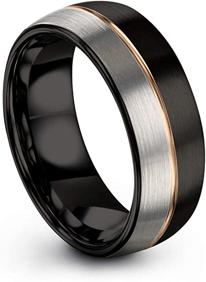 Thorsten Animal Nature Landscape Reindeer Deer Stag Mountain Range Ring Black Tungsten Ring 12mm Wide Wedding Band from Roy Rose Jewelry