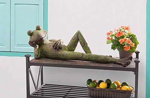 "SunJoy 110301054 Green Finish 39"" Laid Back Frog Garden S..."