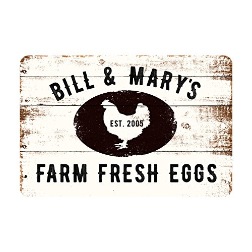 Personalized Farm Fresh Eggs Rustic Barnwood Look Metal Sign (Farm Personalized)