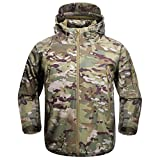 FREE SOLDIER Men's Outdoor Waterproof Soft Shell Hooded Military Tactical Jacket(CP Camouflage Small)