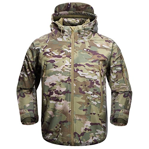 FREE SOLDIER Men's Outdoor Waterproof Soft Shell Hooded Military Tactical Jacket (MultiCam, XXL)