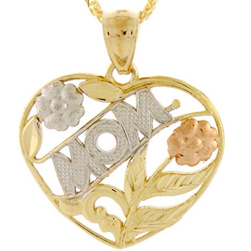 14k Gold Tri-color Mom Rose Flower Leaf Heart - Color Leaf Pendant Tri Gold