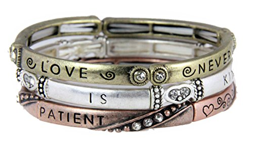 - 4030472 3 Piece Bracelet Set Love is Patient 1st Corinthians Christian Religious Jewelry
