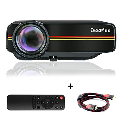 DeepLee DP400 Mini Projector,1000 Lumen LED LCD Home Theater Video Projector with HDMI AV VGA USB SD HD 1080P PC Laptop Xbox PS4 DVD Player for Video Game Movie Night Family Video and Picture -Black