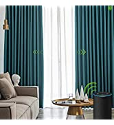 Yoolax Motorized Electric Blackout Curtain Texture Thermal Insulated Drapes Compatible with Alexa...
