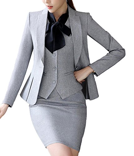 SK Studio Women's 4 Piece Business Shirt Vest Jacket Skirt Set Suits Grey (12, Light Grey Top +Dress)