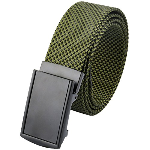 moonsix Nylon Web Belts for Men,Solid Color Casual Military Style Belt,Army Green & Black