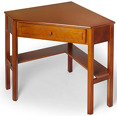 This classically styled desk utilizes a small space for a big impact, with stylish under-desk shelving and a drawer to hide clutter. Simple Living Wood Corner Computer Desk (Cherry) by Simple Living Products (Image #1)