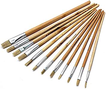 Wooden Artist Paintbrush Set Paint Brushes Art for Acrylic Oil Water Colour - 12pcs