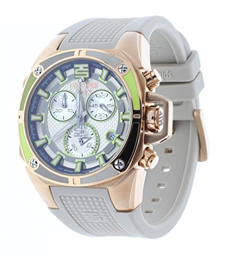 Technosport Swiss Chronograph Taupe Silicone Strap 38mm Rose Gold Case Unisex Watch TS-100-Splash2