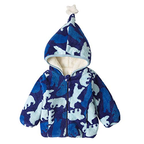 Price comparison product image MaxFox Coat Infant Toddler Girl Jacket Hoodie Print Winter Overcoat Outwear Snowsuit Kids Cotton Clothes (Blue,  6-12 Months)