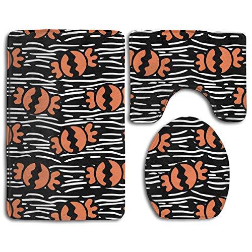 CCBUTBA Bathroom Rug Mats Set 3 Piece Happy Halloween Candy Pattern Extra Soft Bath Rugs (20
