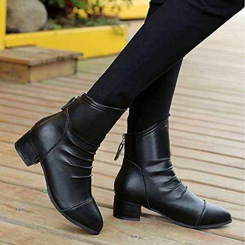 PU Fashion Toe ZHZNVX Comfort for Fall Casual Boots Calf HSXZ Boots Mid Women's Chunky Boots Pointed Shoes Winter Heel Black Black nCOCWt0Fq