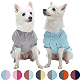 Blueberry Pet Pack of 2 Back to Basic Cotton Blend Summer Dog Polo Shirts in Sky Blue and Light Grey, Back Length 14'', Clothes for Dogs