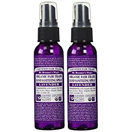 Dr. Bronner's Organic Lavender Hand Sanitizer 2 Pack - (2 oz. Travel Safe Bundle) 102 LAVENDER HAND SANITIZER 2 PACK. The Organic Hand Sanitizer kills germs with a simple formula and no harsh or dangerous chemicals. It's perfect when you're on the go with your little ones, when traveling, or even as an air freshener SAFE AND EFFECTIVE FORMULA. This hand sanitizer uses a simple formula with organic lavender oil that is safe and effective. It offers organic and vegan ingredients for a germ-free lifestyle that is safe for everyone from adults to children ALL NATURAL INGREDIENTS. This light and floral formula has no synthetic detergents, preservatives, or genetically modified ingredients. This hand sanitizer will help you clean with a conscience