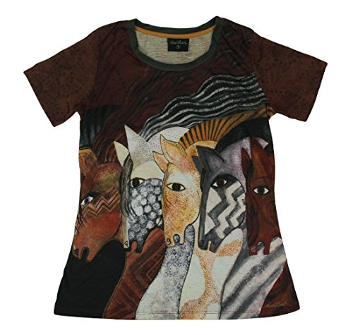 - Laurel Burch Ladies Artistic Top - Moroccan Mares Women's Horse T-Shirt - X-Large