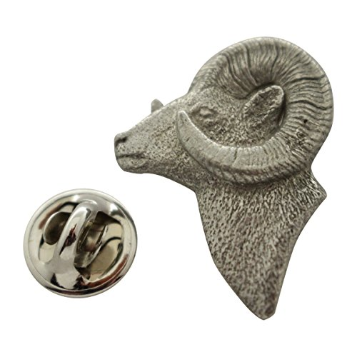 Ram Head Pin ~ Antiqued Pewter ~ Lapel Pin ~ Sarah's Treats & (Head Pin Packaged)
