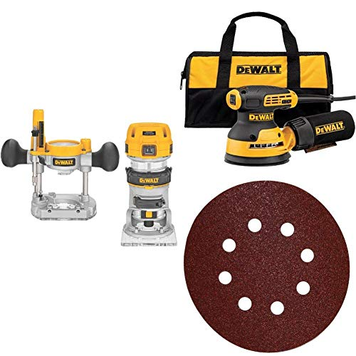 DEWALT DWP611PK 1.25 HP Max Torque Variable Speed Compact Router Combo Kit with LEDs with Random Orbit Sander, 5 inch and 5-Inch 8 Hole 80 Grit Hook and LoopRandom Orbit Sandpaper (25-Pack)