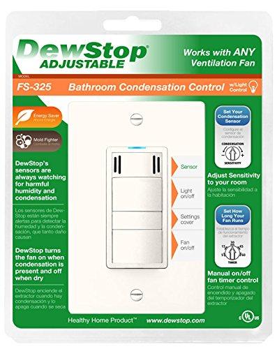 DewStop FS-325-A1 Adjustable Bathroom Fan Control and Light Switch, Almond