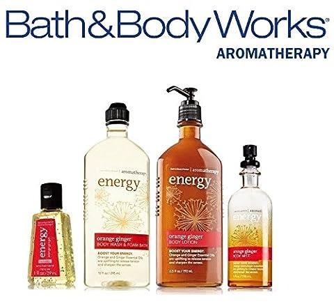 Bath & Body Works Aromatherapy Gift Set Orange Ginger Body Lotion ~ Body Wash & Foam Bath ~ Body Mist & Small Sanitizing Hand Gel