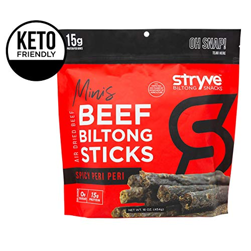 Stryve Keto Protein Snacks - Healthy Beef Biltong Meat Sticks | More Protein than Beef Jerky, Low Carb, Gluten Free, Sugar Free, Paleo Friendly | Spicy Peri Peri, 16oz