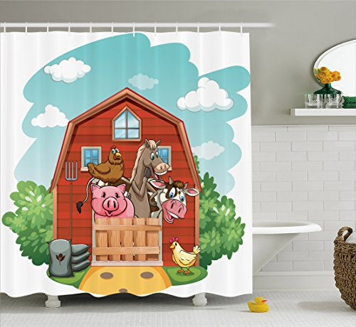 Ambesonne Cartoon Decor Collection, Happy Farm Animals Living in Barnhouse Chicken Pig Horse Domestic Rural Artistic Print, Polyester Fabric Bathroom Shower Curtain Set with Hooks, Green Red by Ambesonne