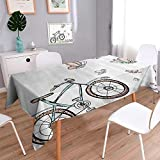 Square Tablecloth Bike Cobbleste Strein Italian Town Leisure ChaArtistic Perfect for Spring, Summer, Indoor, Outdoor Picnics or Everyday Use/52W x 70L Inch