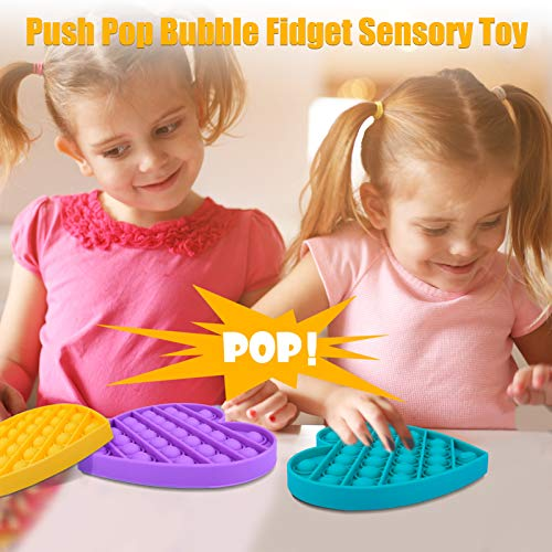 Nazano Push Pop Bubble Fidget Sensory Toy, Bubble Fidget Toy Set, Silicone Stress Relief Puzzle Game Toys, Stress Reliever Squeeze Sensory Toy, Autism Special Needs for Kids and Adults (Purple)