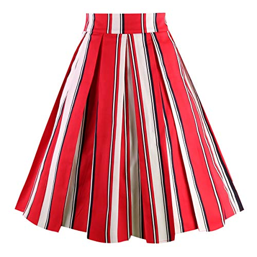Dresstore Vintage Pleated Skirt Floral A-line Printed Midi Skirts with Pockets Red-White-Stripe-XX-L