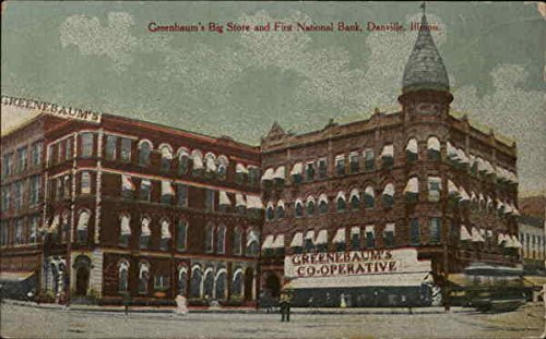 Greenbaums Big Store And First National Bank Danville  Illinois Original Vintage Postcard