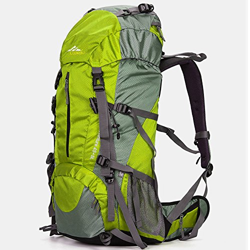 Price comparison product image Loowoko Hiking Backpack 50L Travel Daypack Waterproof with Rain Cover for Climbing Camping Mountaineering (Green)