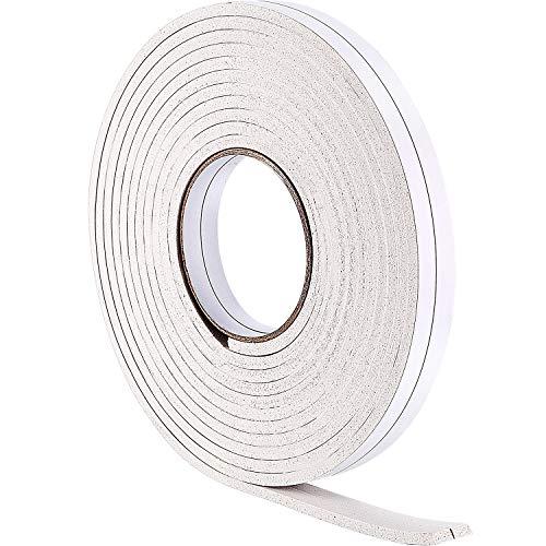 (Hestya 10 m Foam Draught Excluder Weather Strip Tape Weatherstrip Weather Seals for Window Door Sealing (5 mm, White))