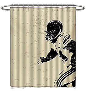 Sports Shower Curtains Digital Printing Rugby Player In Action Running Success Arena Playground Sport Best
