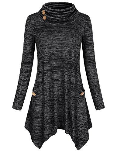 Hibelle Turtleneck Tops, Ladies Trendy Elegant Funnel Neck Loose Cute Buton Decor Athletic Top Basic Knits Trapeze Round Swing Sweatshirts With Pockets Dye Black (Funnel Neck Shirt)