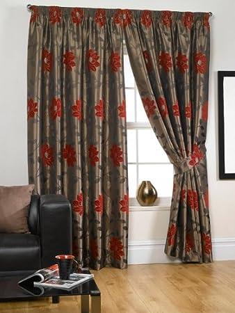 UK Curtains And Interiors Amelia Red 117cm X 229cm: Amazon.co.uk ...