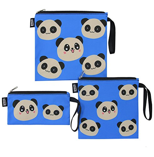 QOGiR Reusable Snack Bags and Sandwich Bags with Handle (Set of 3): Lead-Free,BPA-Free,PVC-Free,FDA Passed (Panda)