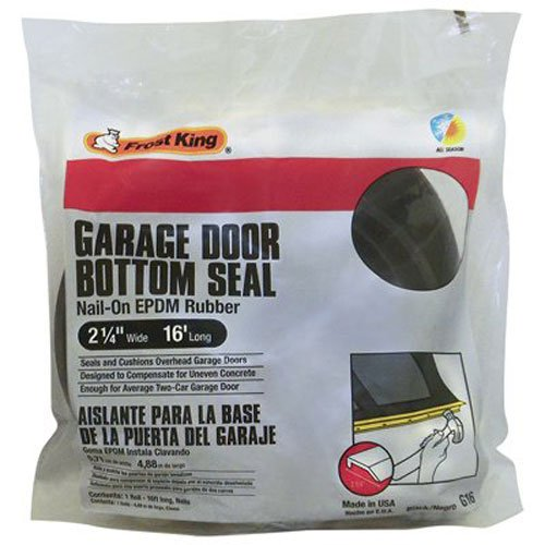Frost King G16H Nail-On Rubber Garage Door Bottom Seal, 2-1/4-Inch by 16-Foot, Black