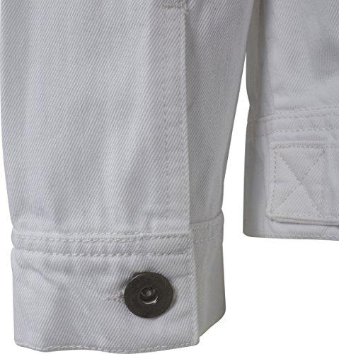 00220 Hombre Chaqueta Classics para Denim Jacket White Ripped Urban Blanco zvaq6