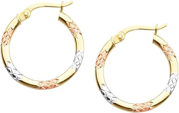 10KT GOLD DESIGNER HOOP EAR HOOP EARRINGS