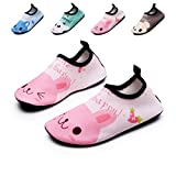lewhosy Kids Boys and Girls Swim Water Shoes Quick Drying Barefoot Aqua Socks Shoes for Beach Pool Surfing Yoga(20/Rabbit Pink)