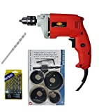 450W 10mm drill machine with 6 pc hole saw set with induction hardened teeth, 13 pc HSS drill set and 1 masonry bit, color may vary