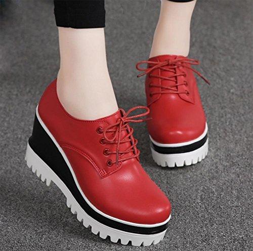 Frau Frühling erhöhte Steigung mit schweren Boden Schuhen Frauen Schuhe Freizeitschuhe weißen Schuhe innen Red