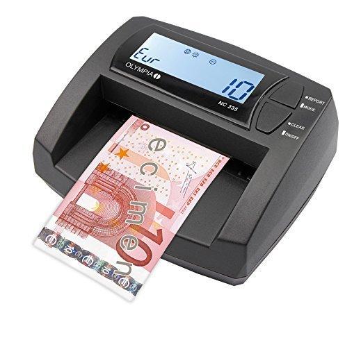 OLYMPIA NC 335 - Verificatrice automatica di banconote, attualizzabile, con display LCD, contabanconote integrato | Verificatrice mobile per banconote in Euro NC_335