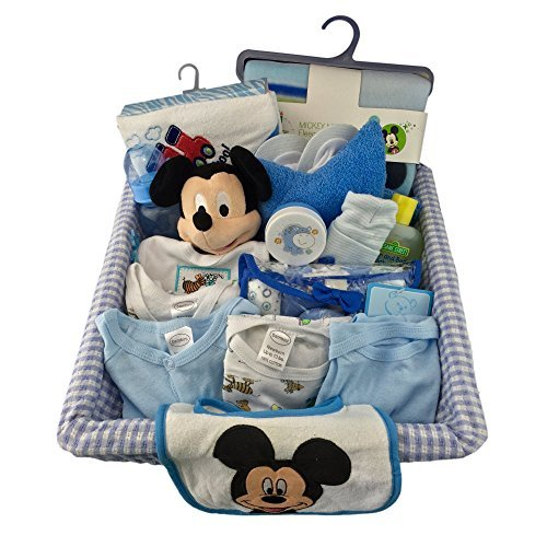 Complete newborn baby boy gift set basket 0 6 months 29 piece complete newborn baby boy gift set basket 0 6 months 29 piece bundle filled basket of baby gift items perfect ideas for birthdays easter christmas negle Image collections