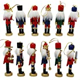 Naimo 6 Piece Christmas Wooden Nutcracker Soldier Ornament Decoration for Home Christmas Gift
