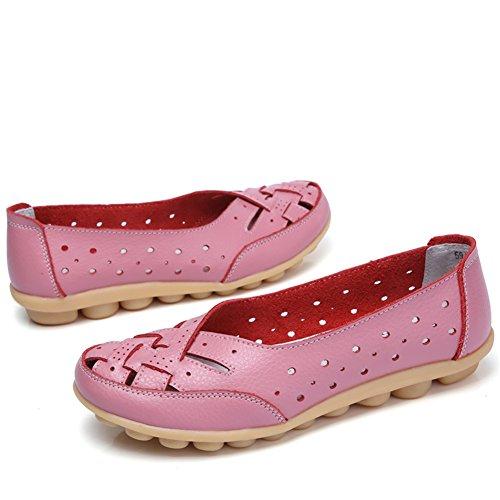 Panda Kelly Femmes Mocassin Chaussures Décontractés Mocassins En Cuir Véritable Pantoufles Slip-on Plat Conduite Sculpture Chaussures Rose