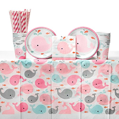 Lil' Spout Pink Girl Baby Shower Party Supplies Pack for 16 Guests: Straws, Dessert Plates, Beverage Napkins, Table Cover, and Cups ()