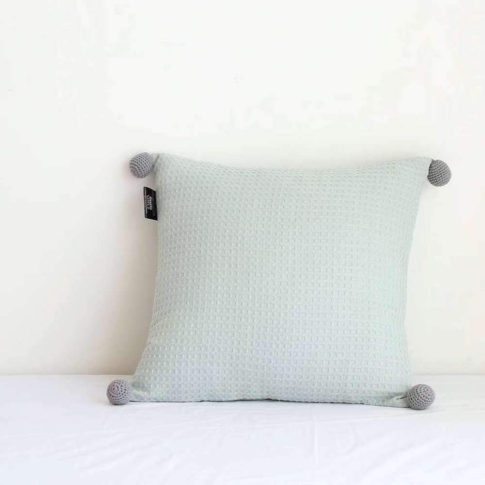 FASTCXV Pillow ins Wind Nordic Solid Color Handmade Ball Pillow Studio B&B with Pillow Blue Green Waffle Pillow [with core] by FASTCXV